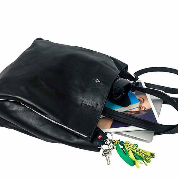 Grand Sac Cabas Copacabana Noir en cuir pleine fleur souple pour femme , Atelier Ygapé, mode engagée, mode responsable, slow fashion